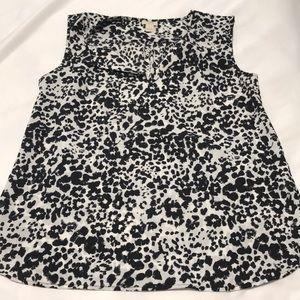 J Crew black and white silk tank blouse